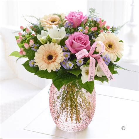 Flowers With Vase Free Delivery by S Day Pastel Vase Of Flowers Vase Included The