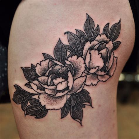 tattoo designs melbourne black and grey dot work peonies on the outer thigh