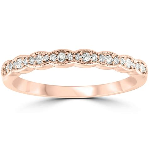 cttw diamond stackable womens wedding ring  rose