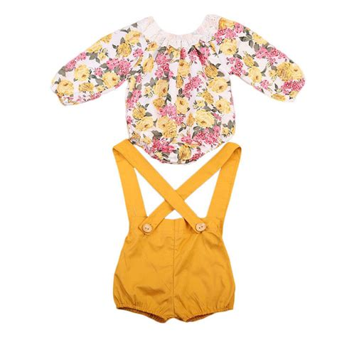 Floral Overall Set 1 newborn baby princess clothes set children clothing floral sleeve bodysuits