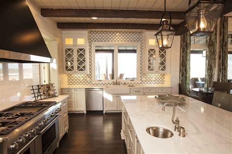 southern kitchens geometric tile backsplash cottage kitchen southern