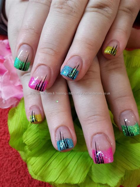 Acrylic Nail Tips by Eye Nails Multi Coloured Glitter Tips