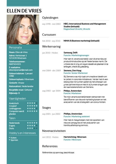 Cv Sjabloon Met Foto Cv Maken In 3 Stappen Je Curriculum Vitae Downloaden Cv Wizard