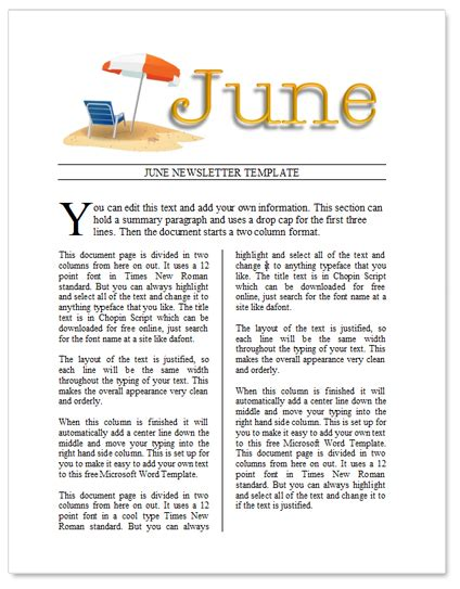 free june newsletter template by worddraw com