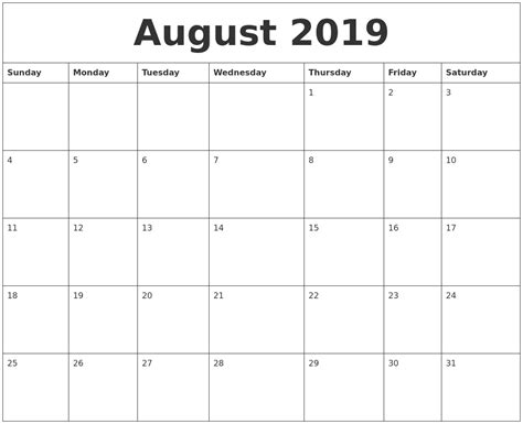 august 2019 free monthly calendar template