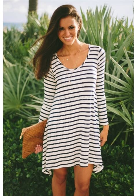 Dress Kp Stripe Black White 081265 black and white stripe tunic dress sawyer escloset