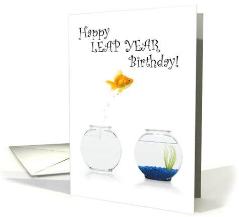 leap year birthday card template leap year birthday jumping goldfish card 1244402