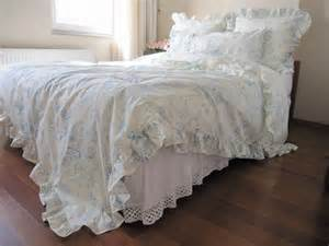 Ruffled Bedding Sets Pastel Blue Floral Ruffled Bedding Size Duvet Cover Shabby Chic Bedding Sets With 2