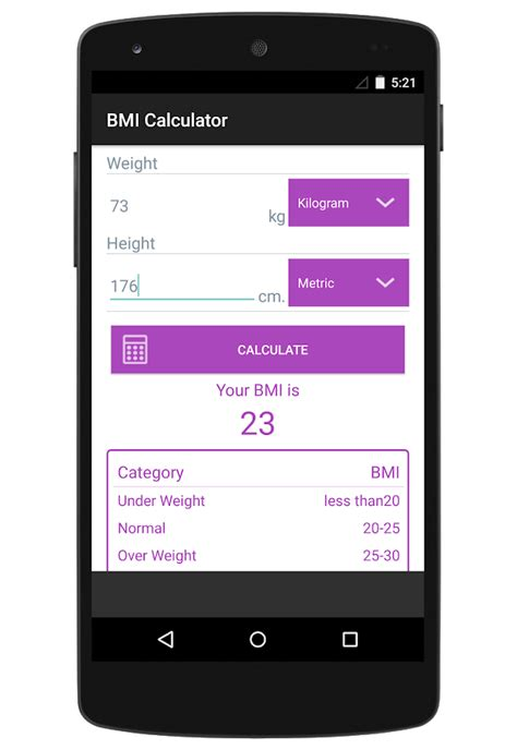 android studio layout height percentage bmi calculator plus android apps on google play