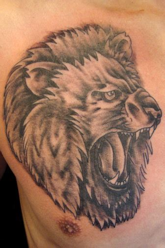 lion roar tattoo roar chest