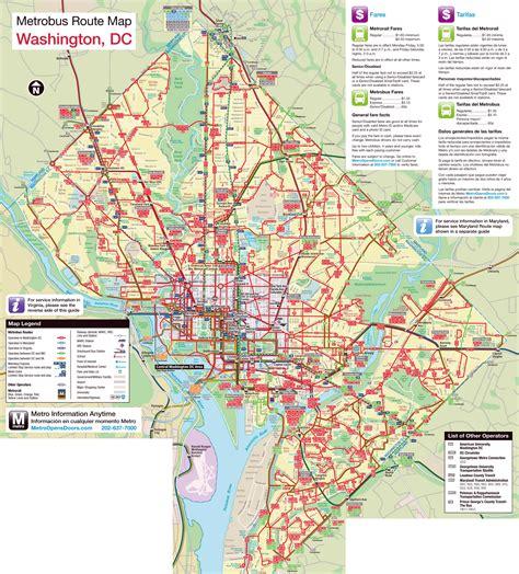 washington dc on a map large metrobus route map of washington d c washington d