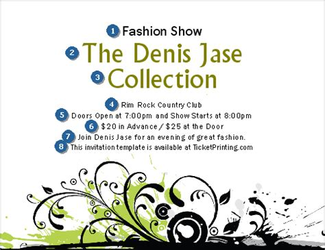 fashion show ticket template fashion show invitation ticketriver