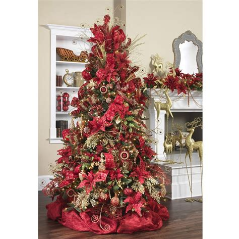 beautiful poinsettia damask tree christmas decorating