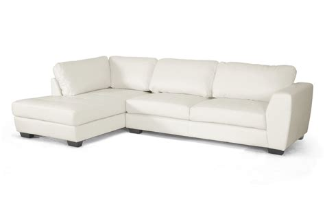 white leather sectional sofa with chaise baxton studio orland white leather modern sectional sofa