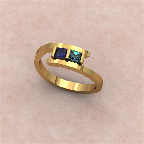 simple bypass gemstone ring with sapphire alexandrite
