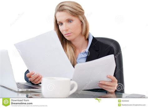 Desk Reading Professional Business Working At Desk Stock