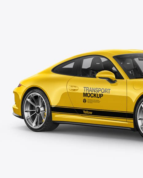 yellow porsche side view porsche 911 r mockup half side view in vehicle mockups