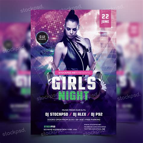 Girls Night Party Free Psd Flyer Template Flyers And Nightclub Flyer Templates New Free Club Flyer Templates Free Psd
