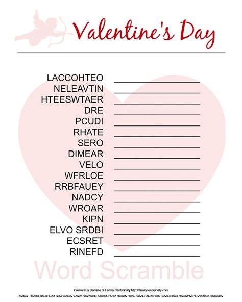 free printable valentine word games valentine s day word scramble free printable