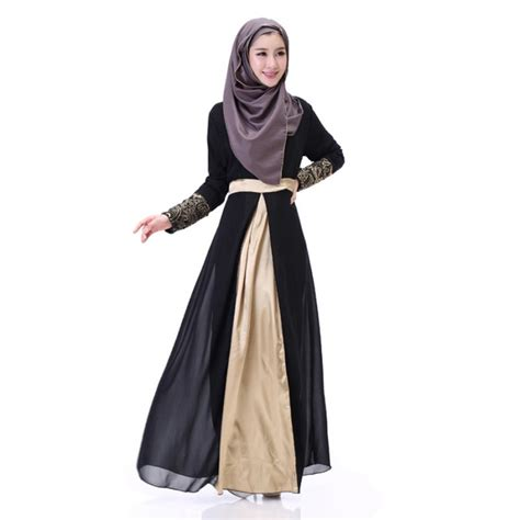 St Dress Muslim Gladies Maxy muslim maxi dress chiffon abaya islamic cuff lace embroidery dresses ebay