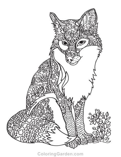 fox coloring page for adults 801 best animal coloring pages for adults images on