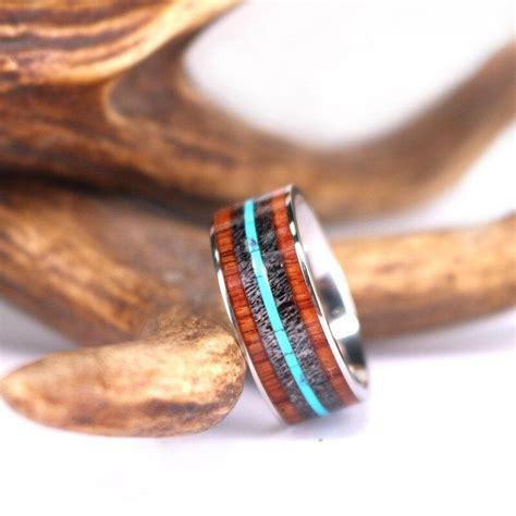 antler turquoise and koa wood titanium mens wedding band