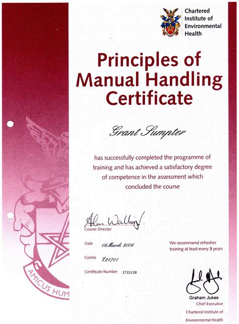 Manual Handling Certificate Template manual handling certificate templatesmanual handling