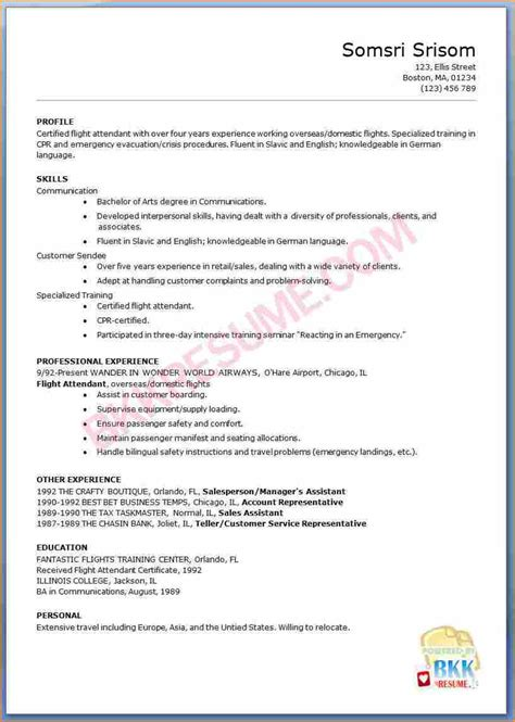sle resume for flight attendant with no experience 15 flight attendant cv no experience basic