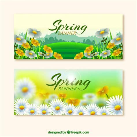 fiori realistici fiori realistici banner di primavera scaricare vettori