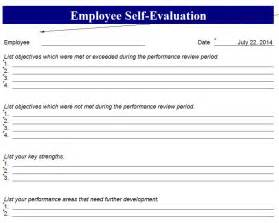 Employee Self Evaluation Form Template by Employee Self Evaluation Form Employee Self Evaluation