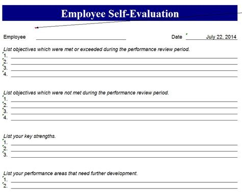self appraisal form template employee self evaluation template