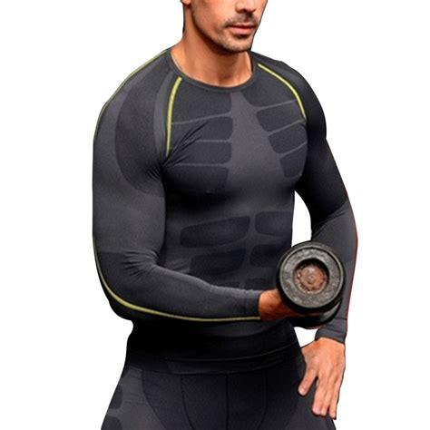 Setelan Olah Raga Pria 2xu Mens Compression Sleeve hommes de compression couche de base 192 manches longues sport vitesse shirts fitness tops m