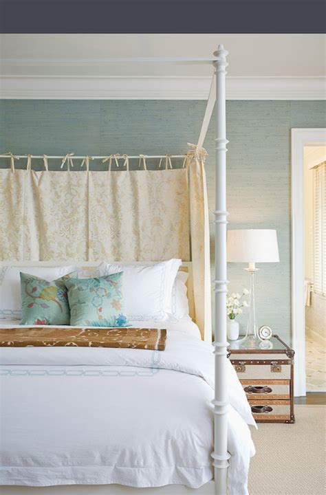 Photography bedrooms seagreen grasscloth wallpaper blue green