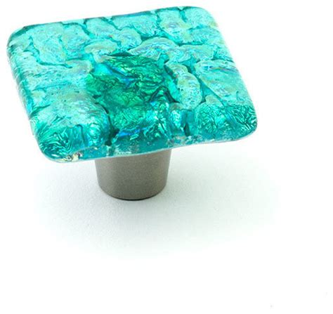 Turquoise Glass Cabinet Knobs by Pearl Glass Knobs And Pulls Turquoise 1 5 Quot Square