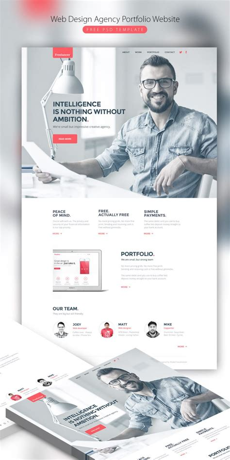 Web Design Agency Portfolio Website Free Psd Template Download Download Psd Ui Designer Portfolio Templates