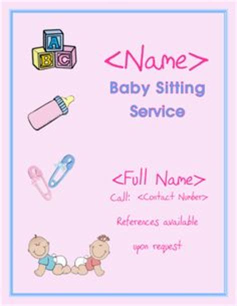 babysitting flyer template 1000 images about baby sitting ideas on pinterest