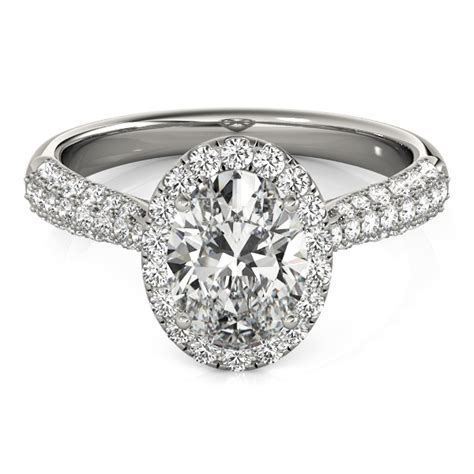 oval cut halo pave engagement ring platinum 2