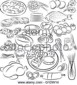 doodle food ltd doodle of food bread pizza and drink vector stock