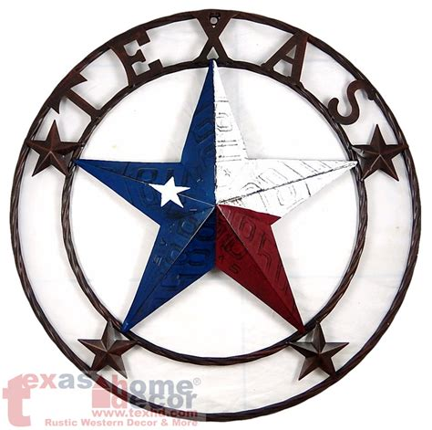 Western Star Home Decor by 24 Quot Texas Flag Barn Star Metal Embossed License Plate