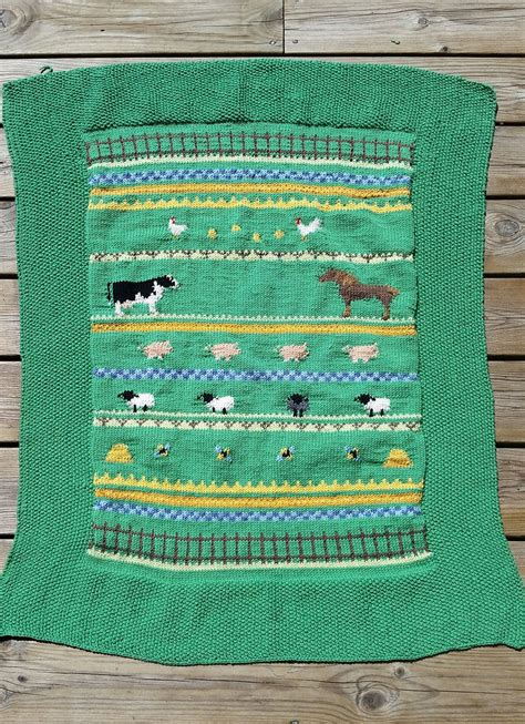 Animal Pattern Baby Name free knitting pattern for farm animal baby blanket