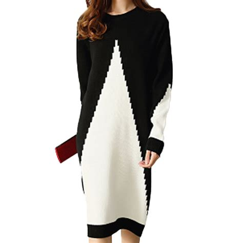 Sweater O Neck Black 1 black white gray patchwork sweater dress style o neck sleeve knitted winter