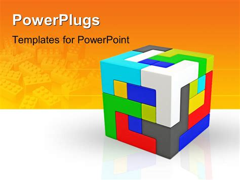 Powerpoint Template A Cube Made Of Various Colored Parts And Orange Background 8832 Cube Powerpoint Template