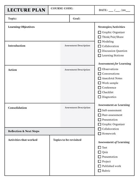 lesson plan template   word   top hat