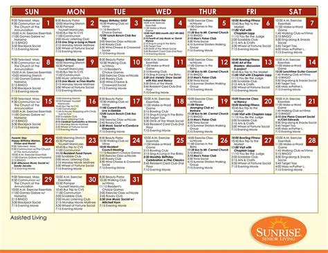 Activity Calendar Template For Seniors by Programming Activities Senior Living