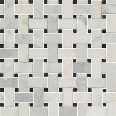 arabescato carrara with black marble basket weave pattern honed tile mosaics