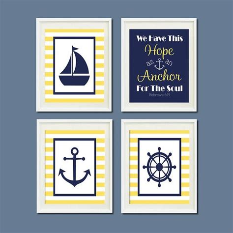 Nautical Nursery Wall Decor Nautical Nursery Decor Wall Navy Yellow Anchor Sailboat Wheel Heb