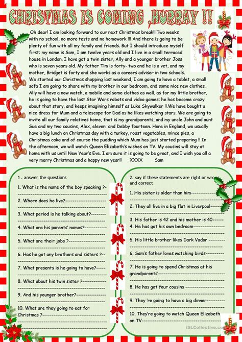 free christmas printable worksheets reading comprehension christmas is coming reading comprehension worksheet