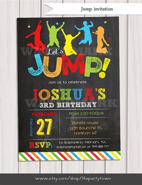 printable jump birthday invitations jump invitation bounce house invitation troline birthday