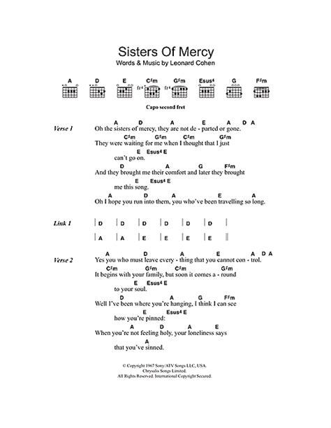 lyrics of mercy of mercy sheet by leonard cohen lyrics