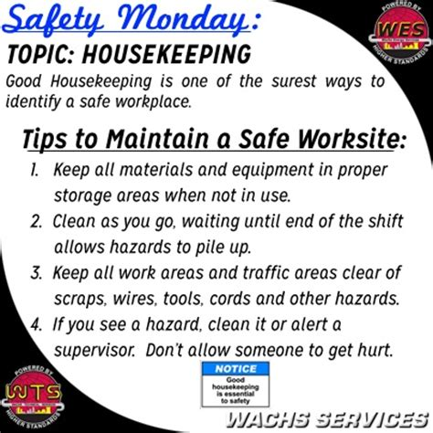 housekeeping tips pin by wachs services on safety monday pinterest